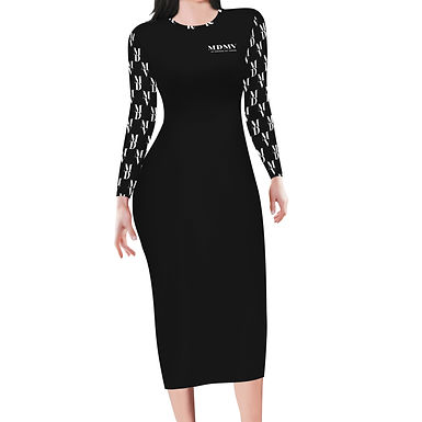 Black Monogram Long Sleeve Bodycon Dress