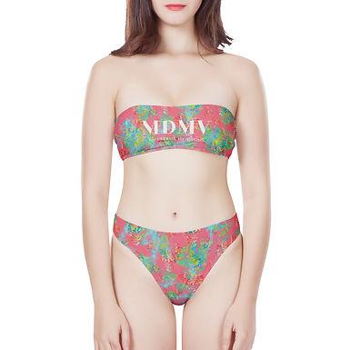 Pink Botanic Strapless Bikini