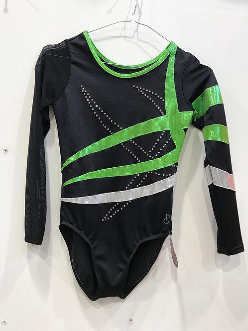 body artistica nero e inserti verdi e bianchi