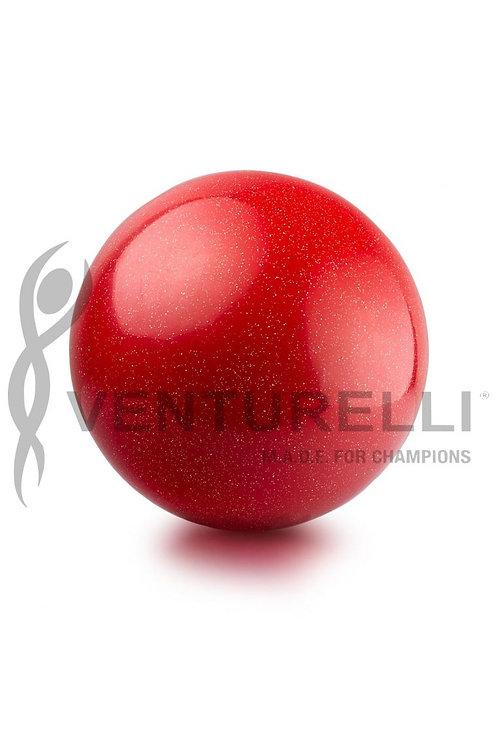 Palla Venturelli glitterata in gomma- red