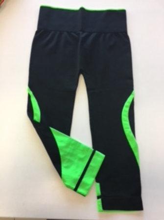 leggins fitness nero-verde fluo TG UNICA