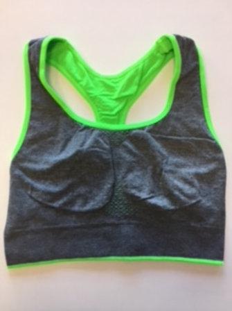 Top fitness grigio melange - verde fluo