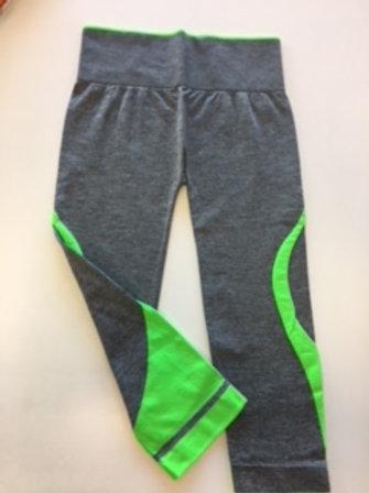 leggins fitness grigio melange -verde fluo TG UNICA