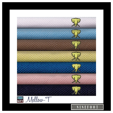 A stack of Mellow-T T-shirts by Ninefoot
