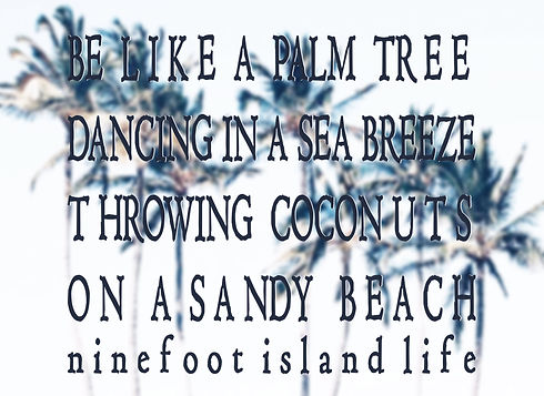 Ninefoot's slogan Be like a palm tree dancing in a sea breeze throwing coconuts on a sandy beach