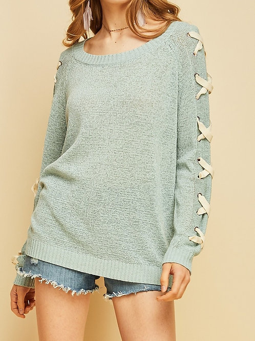 Entro Scoop-neck Sweater w/Lace-up Sleeve Detail
