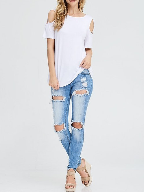 White Birch Cold-Shoulder Knit Top