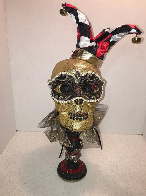 Gold Glitter Jester Skull