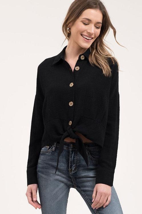 Blu Pepper Front-tie Button Shirt