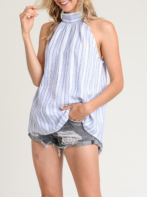 High Neck Back Tie Detail Top