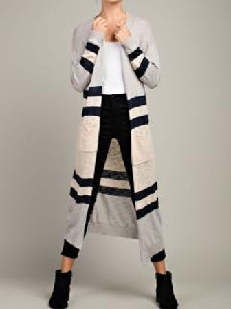 Llove Long Open Stripe Cardigan