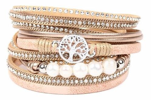 Rhinestone Embellished Wrap Bracelet