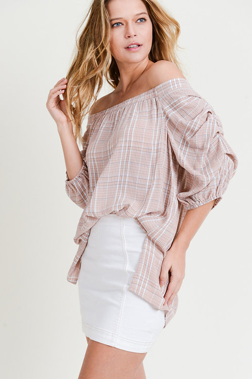 Doe & Rae Checked Blouse with Puffy Sleeves