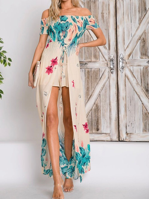 Davi & Dani Floral Skirt Overlay Romper