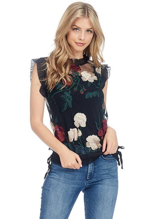 JJ's Fairyland Floral Embroidered Mesh Top