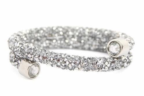 Memory Wire Rhinestone Coated Bracelet