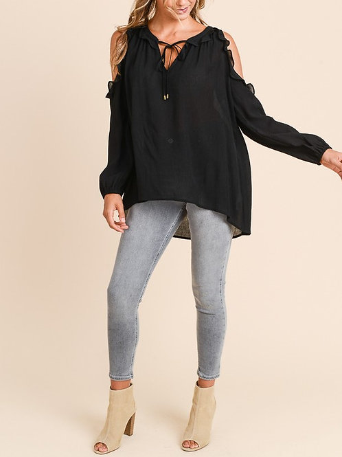 Doe & Rae Cold Shoulder Peasant Top