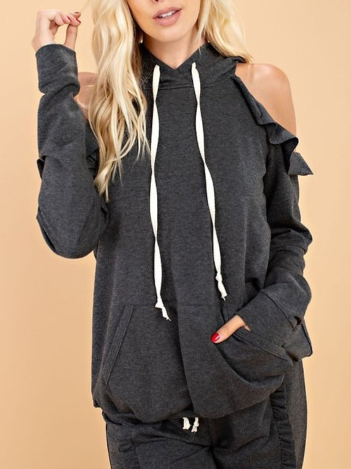 143 Story L/S Cold Shoulder HoodieTop