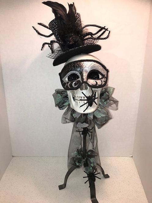 Black & Silver Masquerade Mask Skull Candlestick