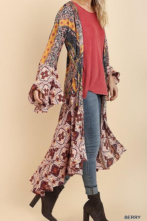 Umgee Long Sleeve Multi Color Kimono