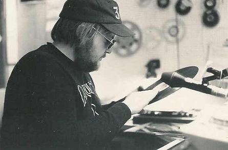 Roger Mathews in Radio Caroline studio