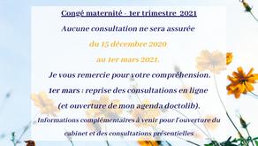 Congé maternité - du 15 décembre 2020 au 1er mars 2021