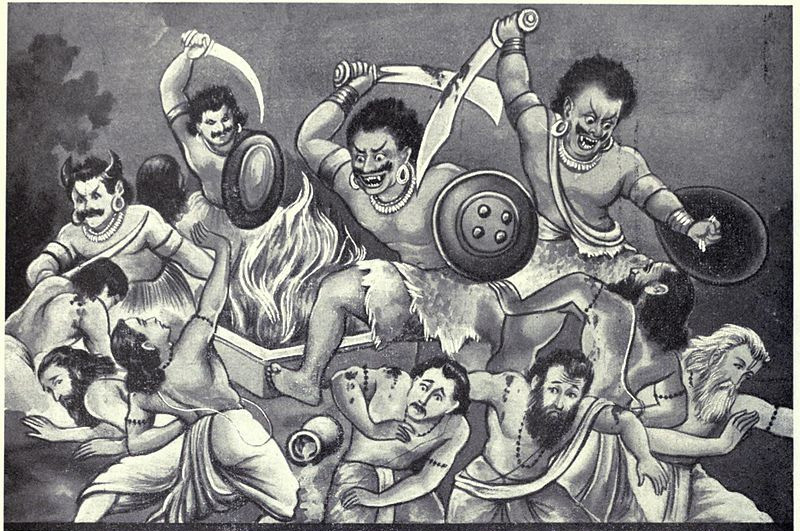A black-and-white illustration of four sword-wielding mustachioed demonic figures attacking seven panicked humanoid figures