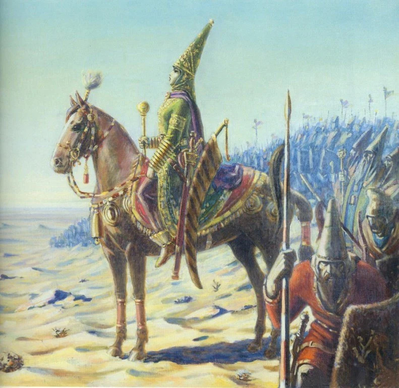 A color illustration of a Persian woman in traditional armor, riding a chestnut horse in full regalia, surrounded by armored Persian troops she commands