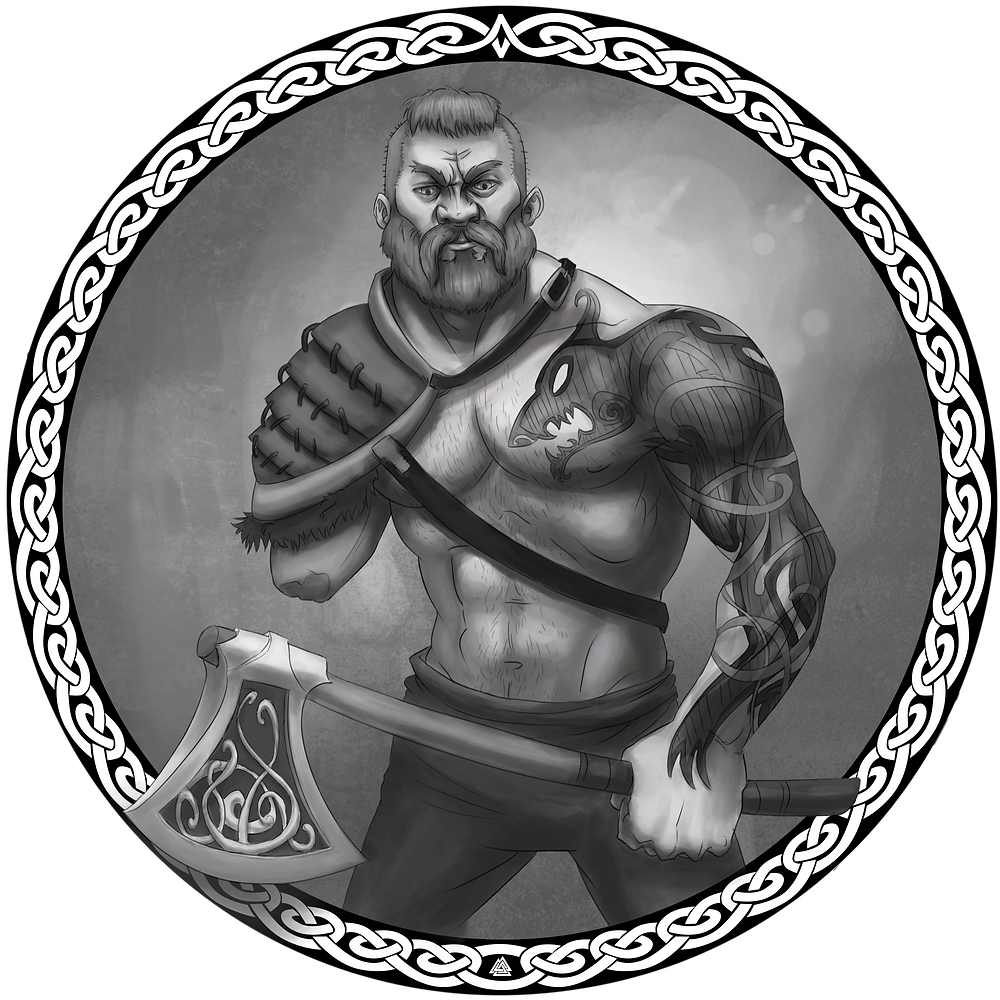 A portrait of the Norse god Tyr, represented as a muscular one-armed man with no shirt and a large tattoo of a snarling wolf on his left arm and chest, wearing shoulder armor and wielding an axe decorated with runes