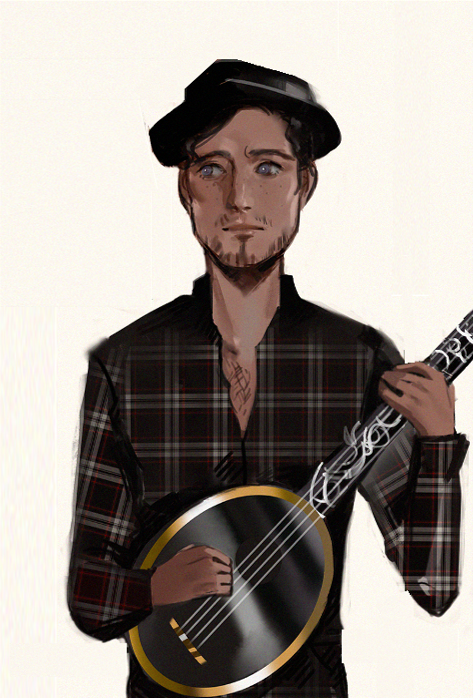 A digital painting of a small pale man with blue eyes, wearing a hat and a plaid shirt, holding a mandolin and looking nervous
