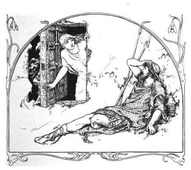 A black-and-white illustration of a woman in a nightgown opening a door hastily and a man lying on the ground just outside, just awoken and confused.