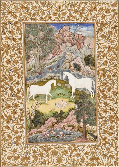 A painting of two white horses representing Surya and his wife Sanjana, standing together in the woods over two naked infant boys, the twin Ashvins that were born from their reunion