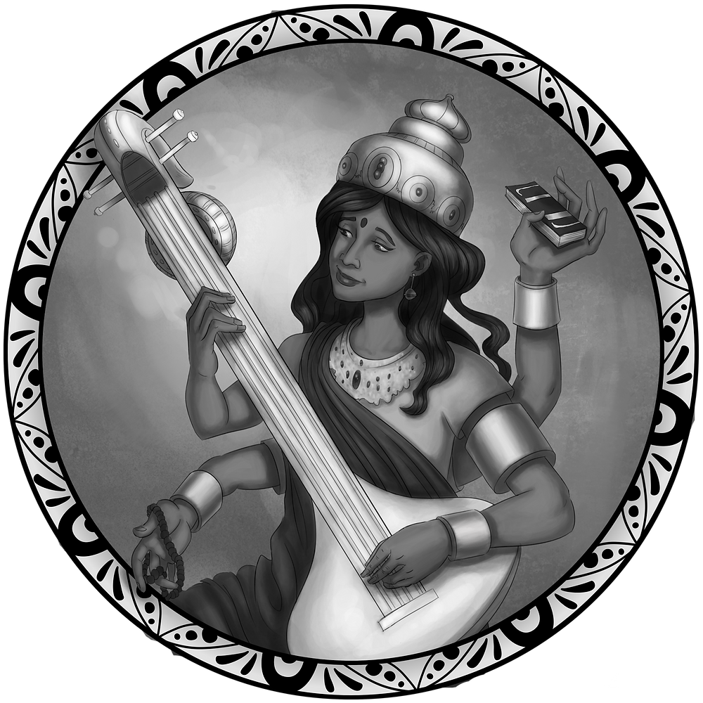 Artwork of the Hindu goddess Sarasvati depicting a beautiful Indian woman playing a veena, holding a book and a rosary, and wearing a crown