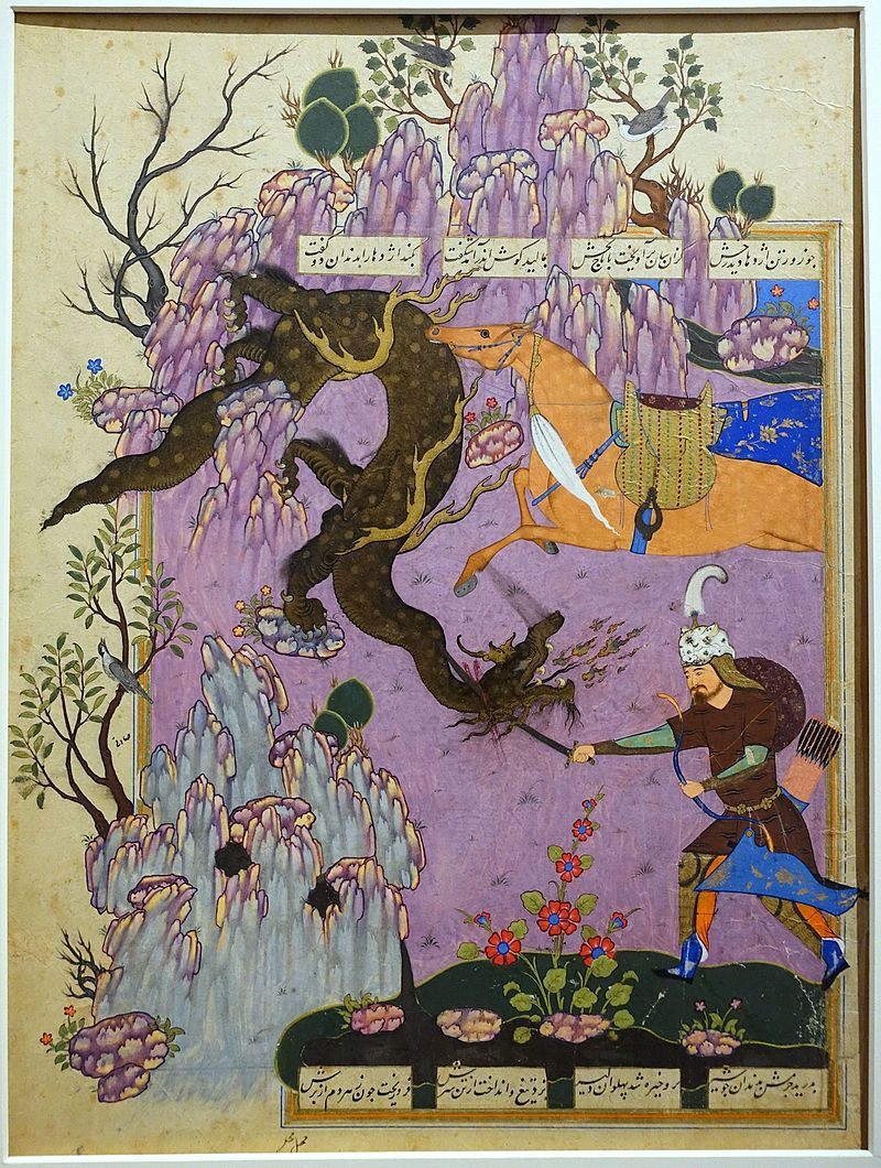 An ancient Persian painting of the Hero Rustam slaying a dragon by stbbing it through the neck with a sword