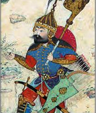 A Persian miniature painting of the hero Giv, wearing blue armor and a golden helmet, carrying a standard