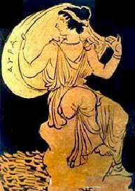 An ancient Greek pottery painting of a woman wearing a chiton, catching the wind in her veil, captioned AYPA (Aura) in Greek letters