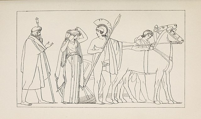 A black-and-white drawing of Penelope, wearing a wedding veil and chiton, preparing to get into the chariot of Odysseus, shown nude and wearing a helmet as well as holding two spears; behind Penelope is her father Ikarius, holding a scepter and wearing a robe as he bids her farewell, while behind Odysseus a charioteer sees to the two horses hitched to the chariot