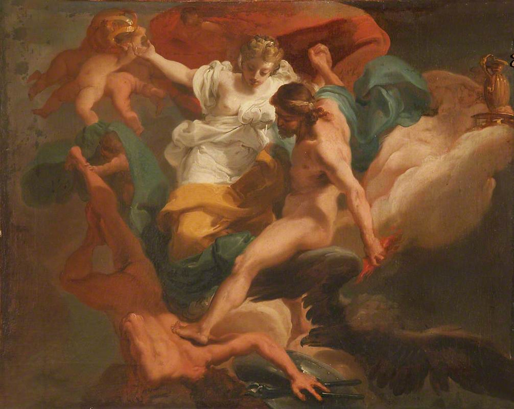 Zeus and Hera Expelling Hephaestus, a mid-18th century painting by Ubaldo Gandolfi showing Hera and Zeus holding hands while Zeus shoves Hephaistos out of the clouds with one foot