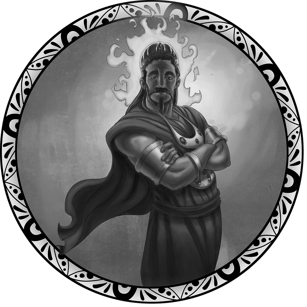 A black-and-white illustration of the Hindu god Surya, wearing a cloak, crown, and heavy jewelry, surrounded by a corona of flame with his arms folded