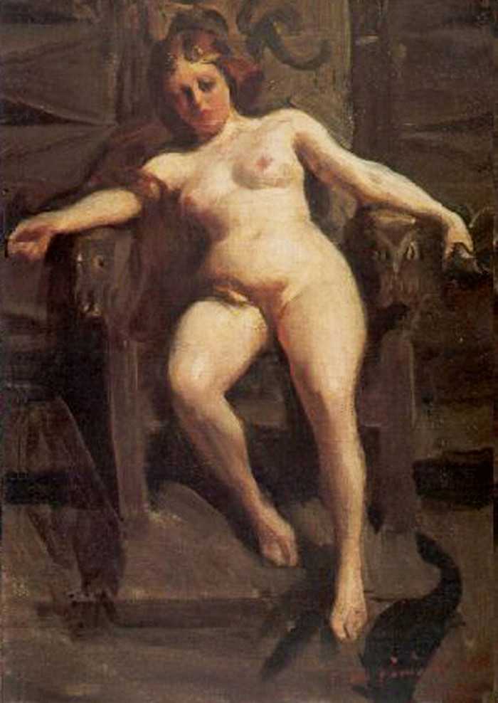 A painting of a nude Freyja with long red hair lounging on a throne, looking unimpressed