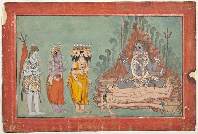 A miniature painting of the gods Shiva, Vishnu, and Brahma standing before Kali in supplication, while she is seated on a burning bonfire of corpses with a serpent around her neck and a sword in her hand