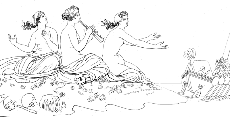 Illustration of the sirens tempting Odysseus to crash his ship on their island