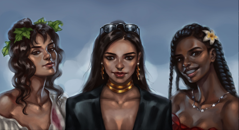 A digital painting of two Latino girls (Helena and Valencia) and one Haitian girl (Issi) smiling as they stand together