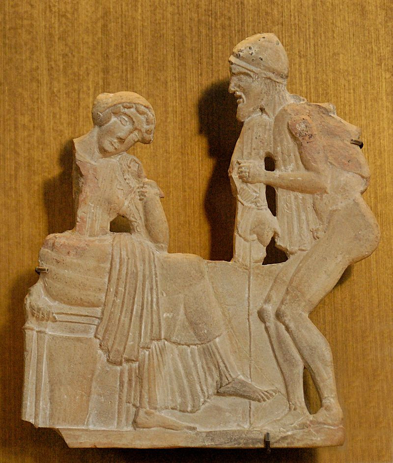 An ancient Greek carved relief depicting Penelope sitting on a stool to the left, leaning casually, while a half-nude Odysseus in a hat stands to the right, pleading with her