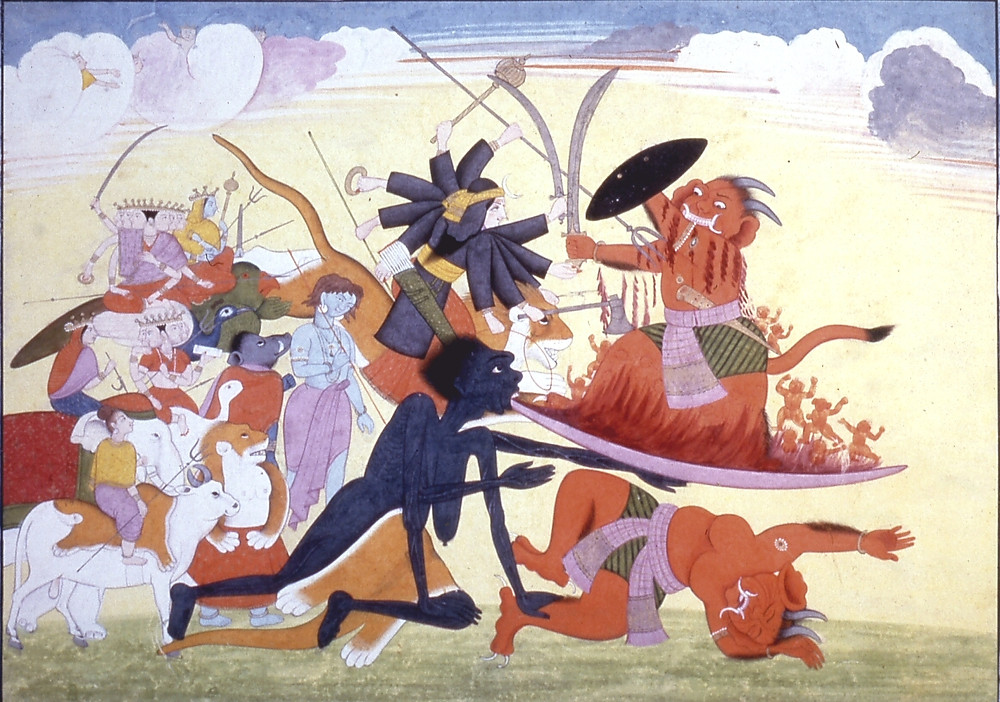 A painting of the battle between Kali and Raktabija, showing Kali, black-skinned and wearing only a tiger-skin, extending her tongue so that it catches every drop of blood from her enemy, who she also holds down defeated with one hand