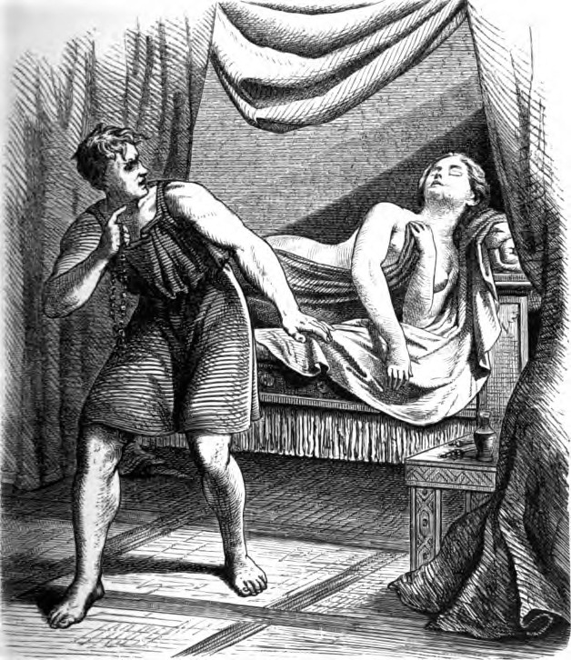 A black-and-white illustration of the god Loki stealing the necklace Brisingamen while nearby a nude Freyja sleeps on a bed surrounded by curtains