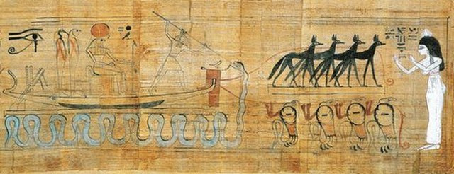 An ancient Egyptian painting of the solar barque being driven by the sun god Ra with the solar disc on his head, attended by multiple other deities and Set, who is stabbing a spear into the mouth of Apep, whose coils surround the barque