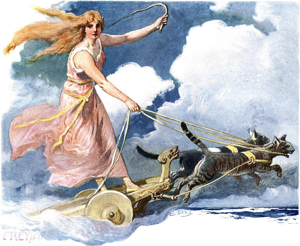 A watercolor painting of Freyja with blonde hair wearing a pink gown, brandishing a whip as she drives her chariot pulled by cats