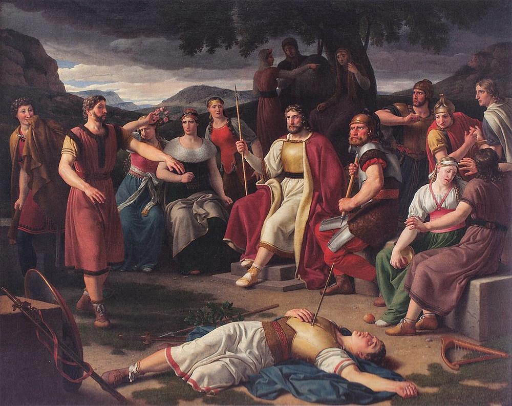 A painting by Christoffer Wilhelm Eckersberg of the Norse god Baldr slain by mistletoe