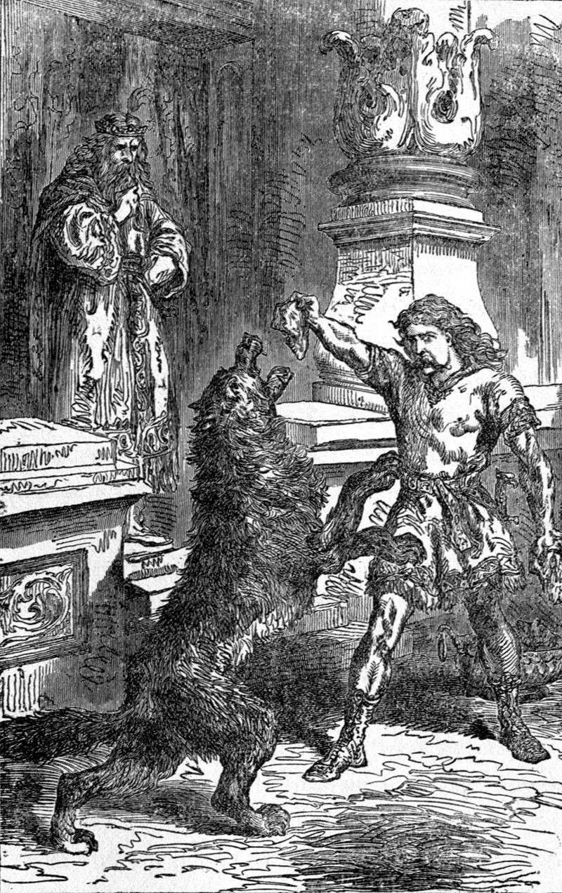 A black-and-white illustration of Fenrir, a giant black wolf, rising up on his hind legs to reach for meat being fed to him by Tyr, a muscular man in a tunic and boots, while Odinn wearing a crown and robe watches from a safe distance